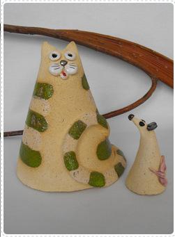 Kot gruby z myszą